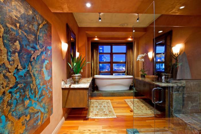 plafond-lumineux-salle-de-bains-avec-joli-système-d'éclairage