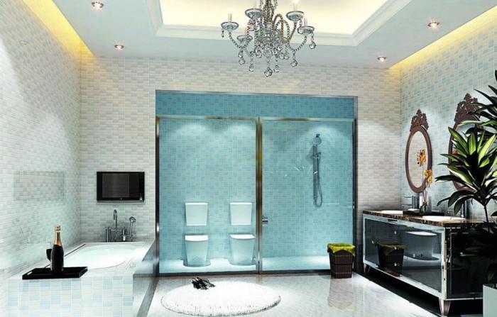plafond-lumineux-salle-de-bains-glamoureuse-plafonnier-et-lumières-led