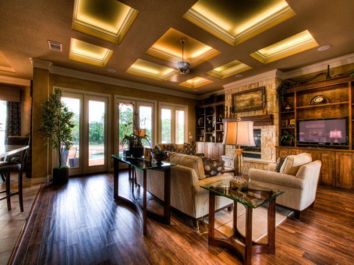 plafond-lumineux-salle-de-séjour-moderne-à-touche-rustique