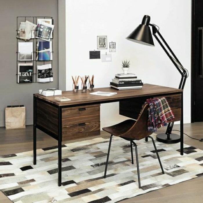 porte-revues-conforama-meuble-en-bois-foncé-massif-pour-le-bureau-domicile-comment-amenager-le-bureau