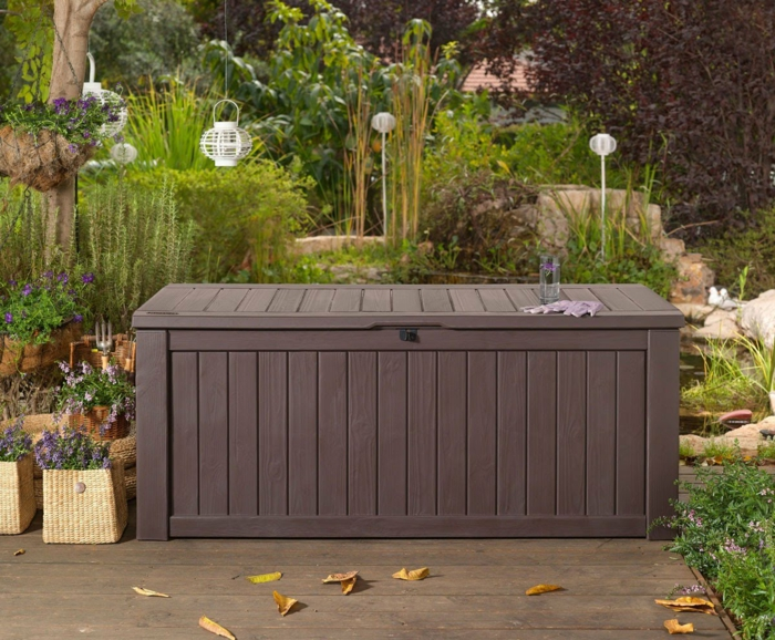 Le banc coffre de jardin belles id es pour votre jardin - Coffre de rangement exterieur en bois ...