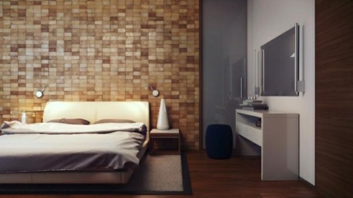 revêtement-mural-bois-lambris-mur-en-bois-rustique-carrelage-lit-aménagement
