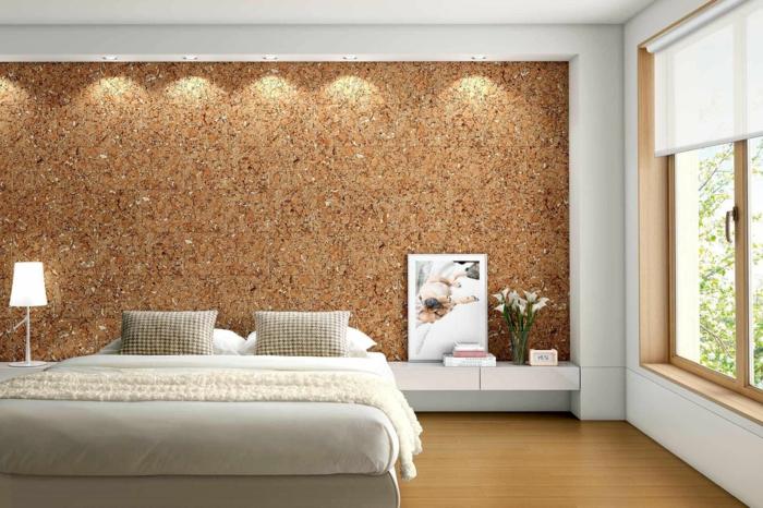 revêtement-mural-bois-lambris-mur-en-bois-rustique-chambre-à-coucher-lit