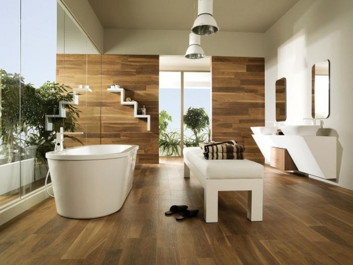 revetement-mural-bois-pièce-vintage-décoration-de-mur-sallle-de-bain-en-bois-baignoire-double-vasque