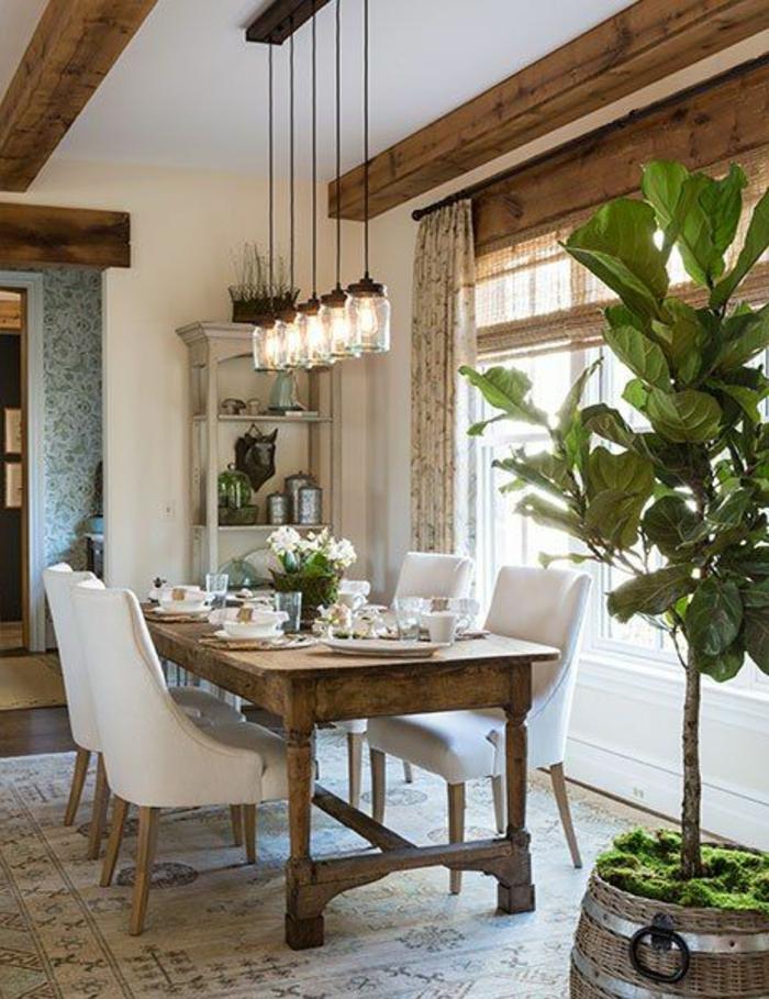 salle-a-manger-complete-pas-cher-avec-plantes-vertes-d-intérieur-moderne -de-style-luxe