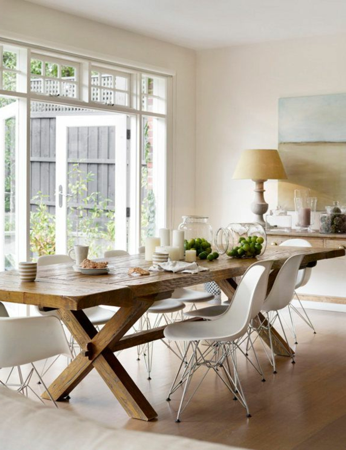 Voici la salle manger contemporaine en 62 photos - Table et chaise en pin ...