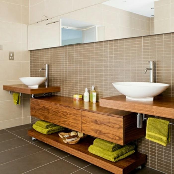 salle-de-bain-aménagée-meuble-double-vasque-vert-nappes