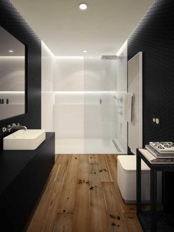 salle-de-bain-avec-comiche-eclairage-indirect-sol-en-parquet-murs-noirs-salle-de-bain-moderne