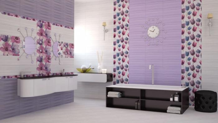 Le carrelage mural en 50 variantes pour vos murs for Carrelage salle de bain violet