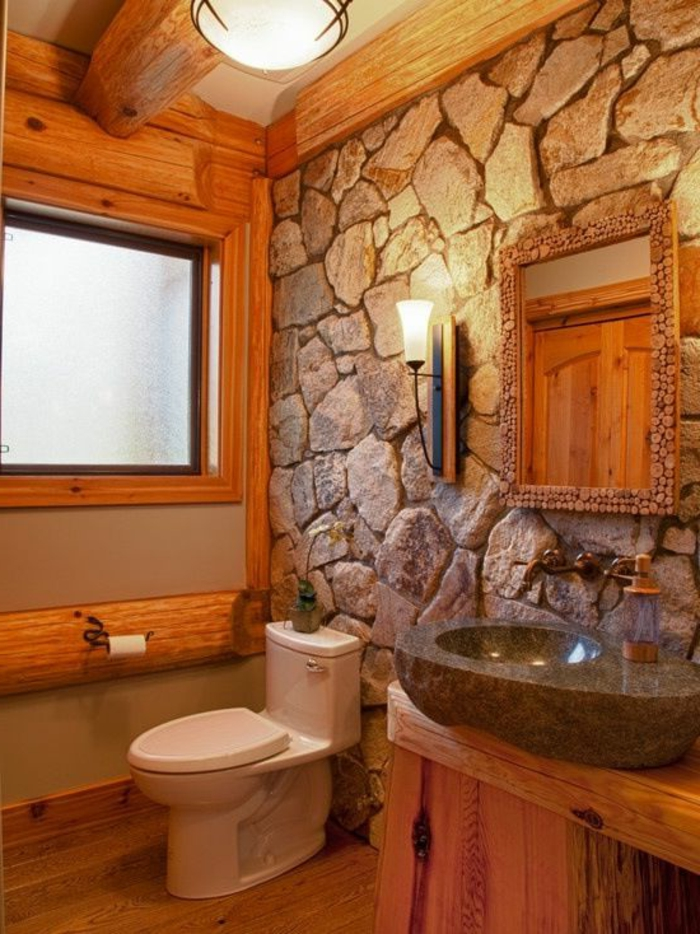 Le mur en pierre apparente en 57 photos Salle de bain en gris
