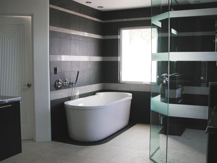 douche carrelage noir et blanc salle de bain carrelage marron deco - Photo Carrelage Salle De Bain Noir Et Blanc