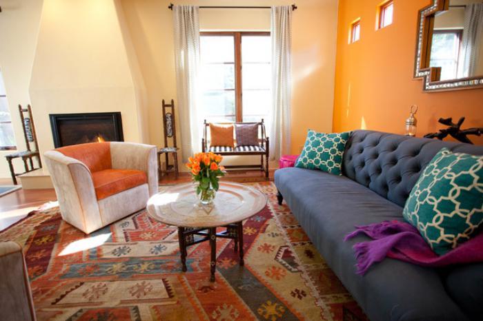 salon marocain rouge et orange salon moderne orange et gris peinture murale la nouvelle tendance - Salon Marocain Peinture Gris