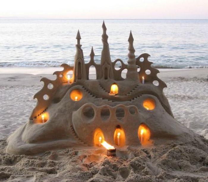 sculpture-de-sable-art-sur-sable-château-illuminé