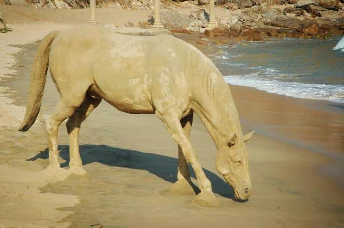 sculpture-de-sable-cheval-qui-boit-de-l'eau