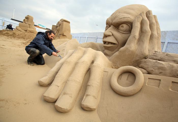 sculpture-de-sable-héros-du-Seigneur-des-anneaux