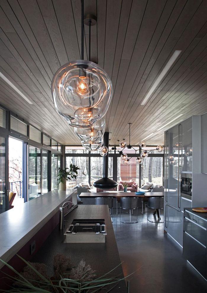 Choisissez la suspension en verre pour faire impression et for Suspension cuisine verre
