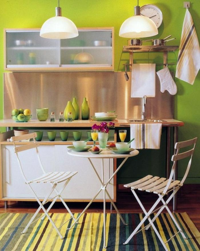 table-pliante-de-cuisine-étroite-table-ronde-à-manger-vert