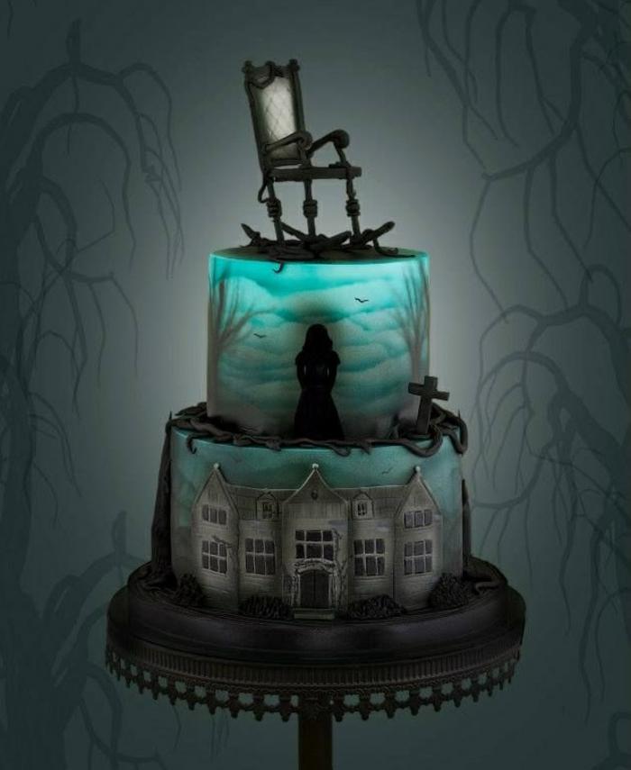 un-gâteau-pour-halloween-decoration-gateau-halloween-sombre-chambre