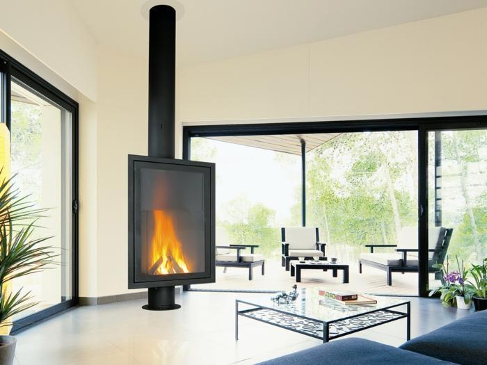 Chemin e centrale foyer ferm ou chemin e traditionnelle - Idee cheminee design ...