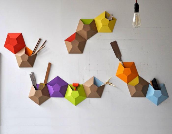 vide-poche-mural-vide-poches-origami-en-carton-coloré
