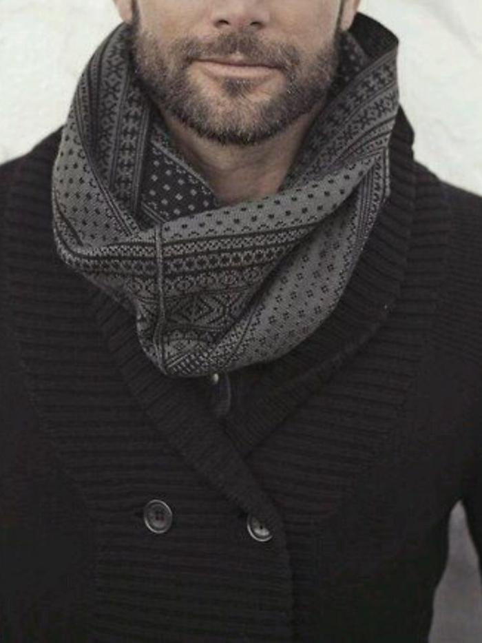 écharpe-tube-idée-en-tendance-hiver-2015-gilet-noir-et-echarpe