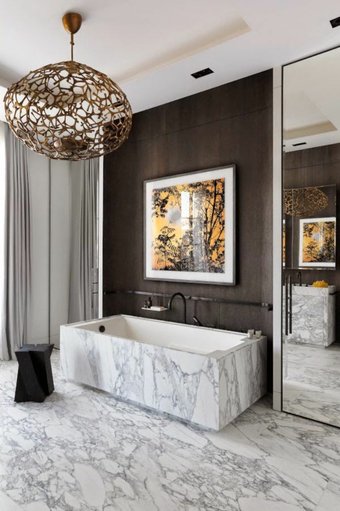 Beaucoup didées en photos pour la salle de bain en marbre.