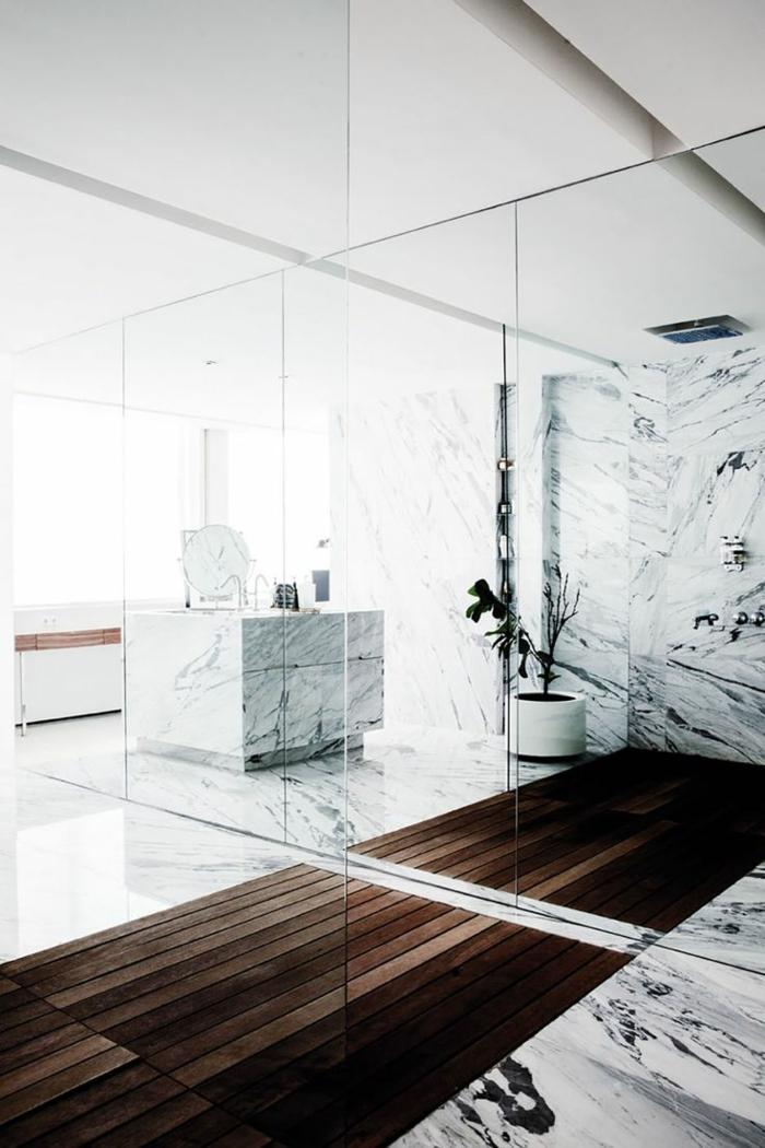 Beaucoup d 39 id es en photos pour la salle de bain en marbre - Salle de bain bois et gris ...