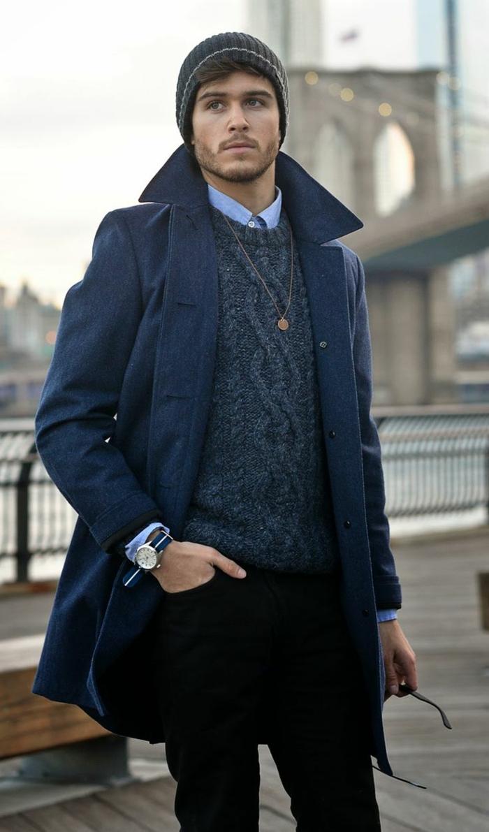0-manteau-homme-celio-bleu-foncé-pulle-bleu-foncé-tricoté-chemise-bleu-yeux-bleus