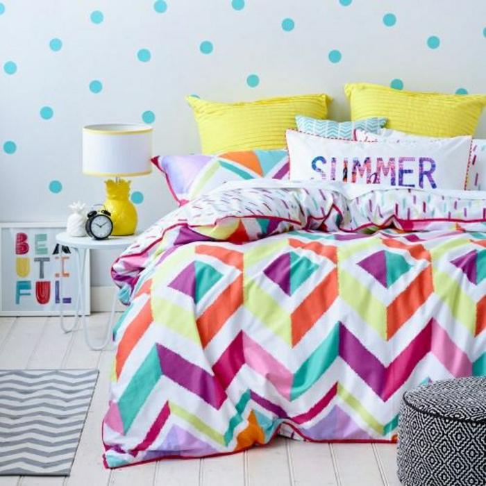 1-deco-chambre-ado-fille-linge-de-lit-coloré-couverture-de-lit-colorée-coussins-colorés-jaunes-decoration-murale