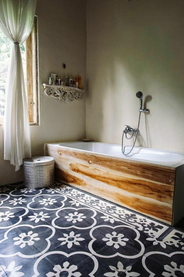 Faience salle de bain noir et blanc salle de bains - Repeindre faience salle de bain ...