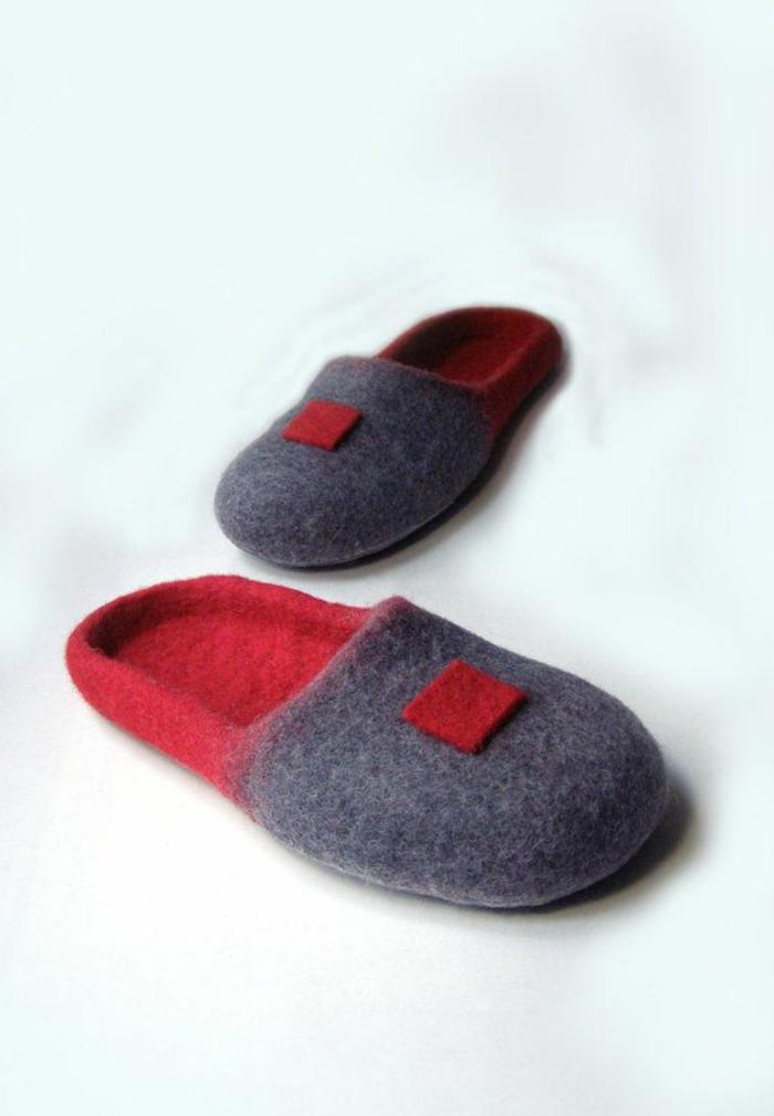 1-joli-design-de-chausson-isotoner-pour-homme-de-couleur-gris-et-rouge