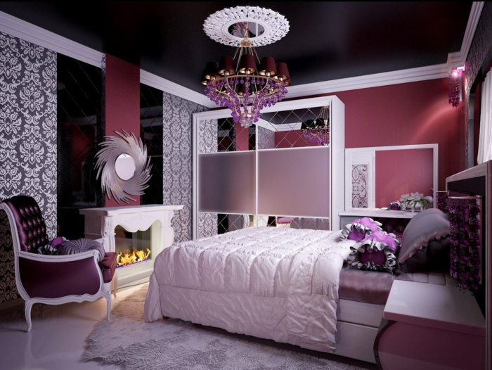 chambre ado fille moderne violet couleur violette ide dco - Chambre Ado Fille Moderne Violet