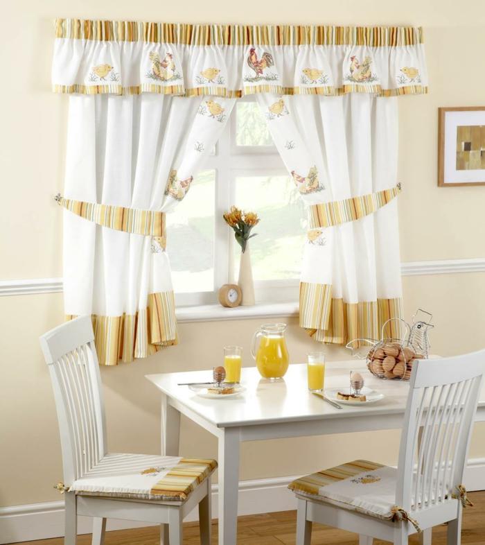 Awesome Rideau Cuisine Moderne Jaune  #1: 1-jolie-cuisine-avec-rideaux-blanc-jaune-cuisine-moderne-chaise-en-bois-blanc-et-table.jpg