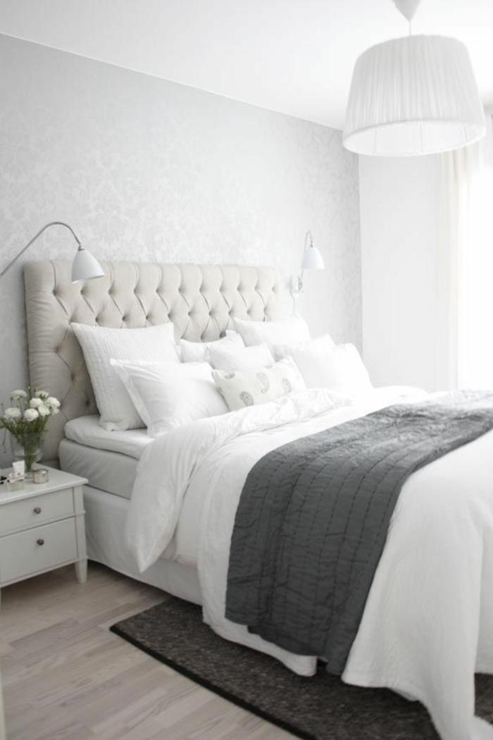 Lit avec chevet suspendu perfect tete de lit avec chevet - La chambre des officiers resume complet ...