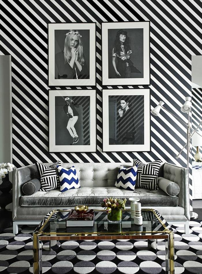 Le papier peint noir et blanc est toujours un singe d 39 l gance - Tapisserie rose et gris ...