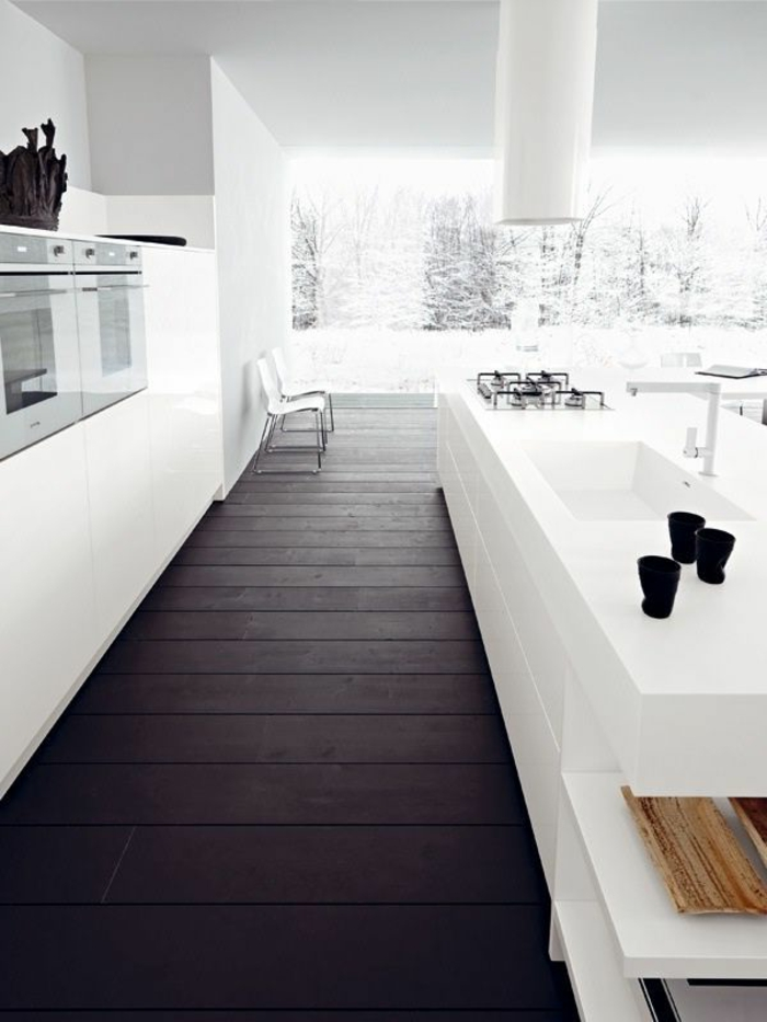 Le parquet noir en 45 super photos for Parquet dans la cuisine
