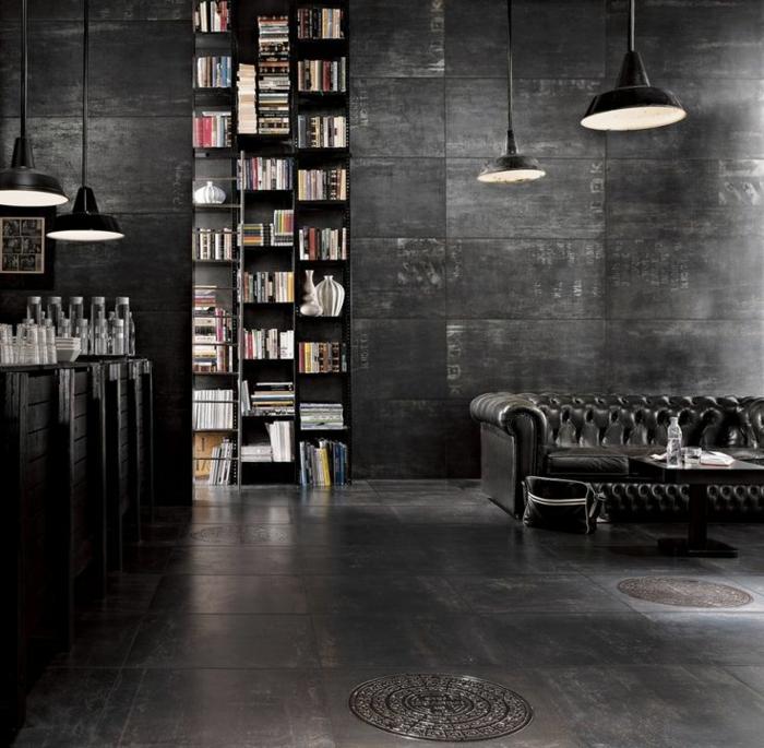 1-parquet-noir-dans-le-salon-noir-et-livres-sur-la-bibliotheque-murale-dans-le-salon-moderne