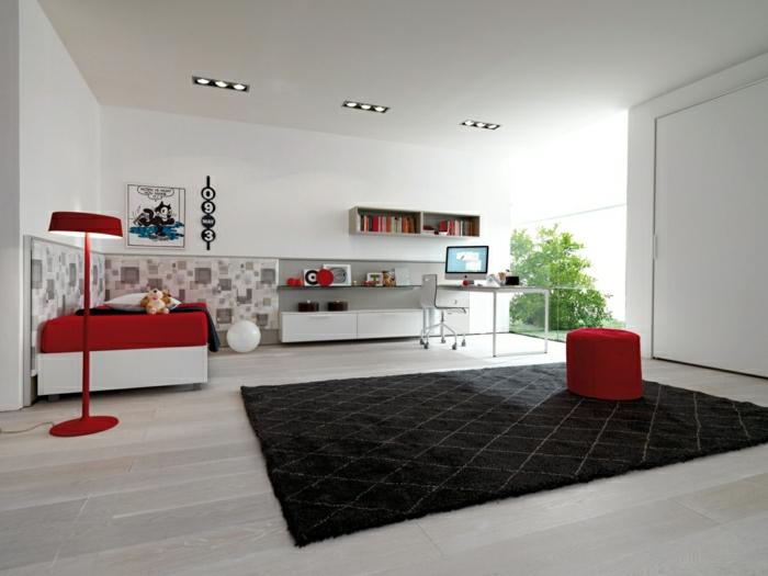 2-jolie-chambre-fille-moderne-avec-meubles-rouges-tapis-noir-sol-en-parquet-clair-grnades-fenetre