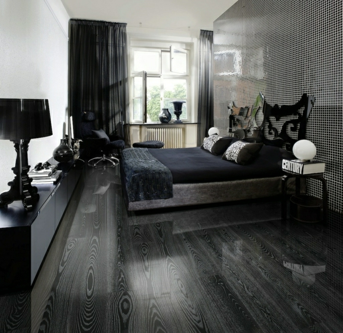 parquet gris chambre great dco chambre grise et blanche with parquet gris chambre le parquet. Black Bedroom Furniture Sets. Home Design Ideas