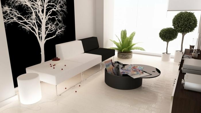 Le papier peint noir et blanc est toujours un singe d - Decoration table basse de salon ...