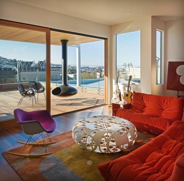 3-chauffeuses-bultex-oranges-pour-avoir-le-meilleur-salon-avec-table-basse-ronde-blanche