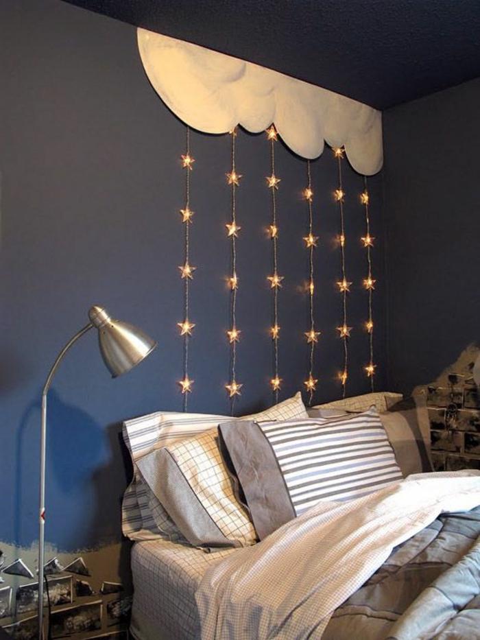 3-jolie-decoration-pour-un-pan-de-mur-bleu-foncé-decoration-avec-etoiles-lumineux