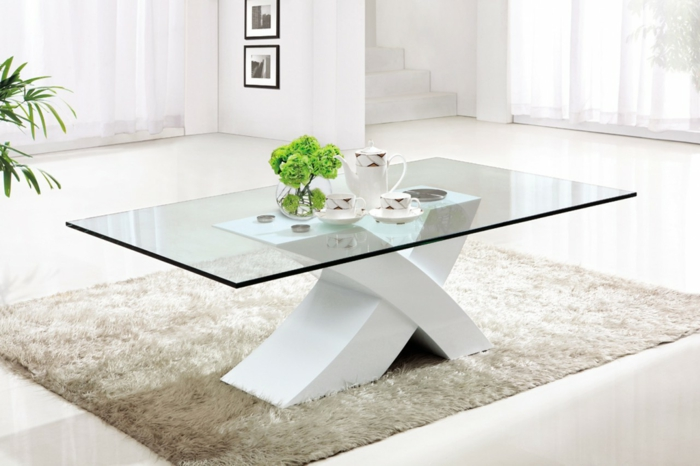 41 variantes en photos de la table de salon en verre - Table basse laquee beige ...