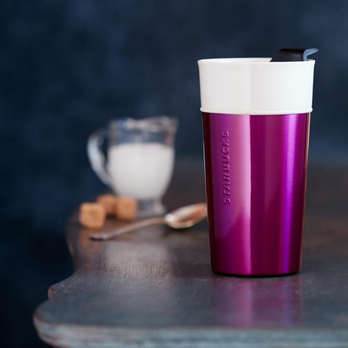 Boire-café-dans-tasse-isotherme-tasse-thermos-pink-néon-rose