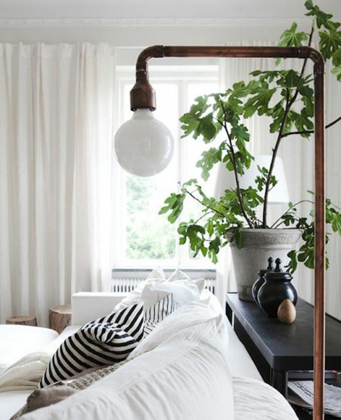 Le lampadaire de salon 45 belles id es d co en images - Lampadaire noir et blanc ...