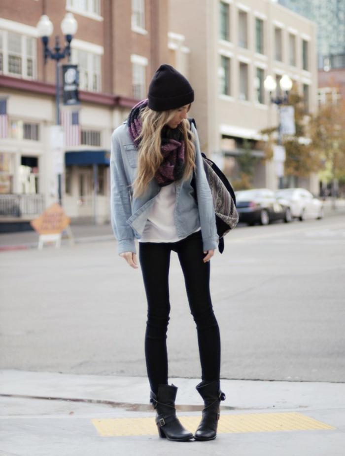 Idée-quelle-echarpe-ronde-porter-moderne-tenue-tous-les-jours