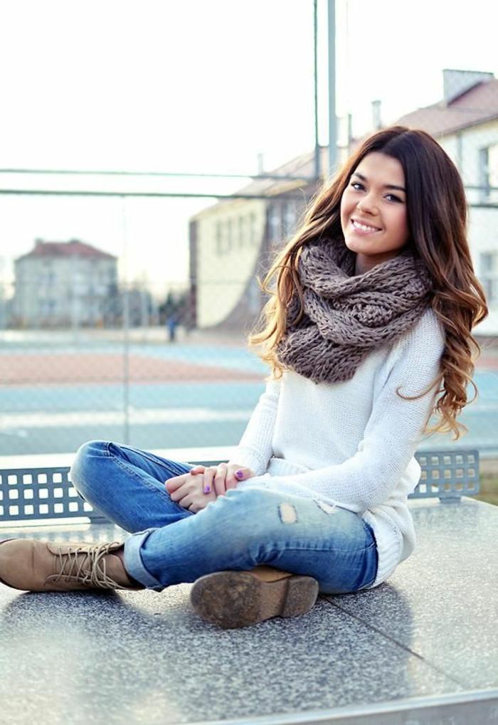Mode-femme-écharpe-tube-féminine-chaude- beauté