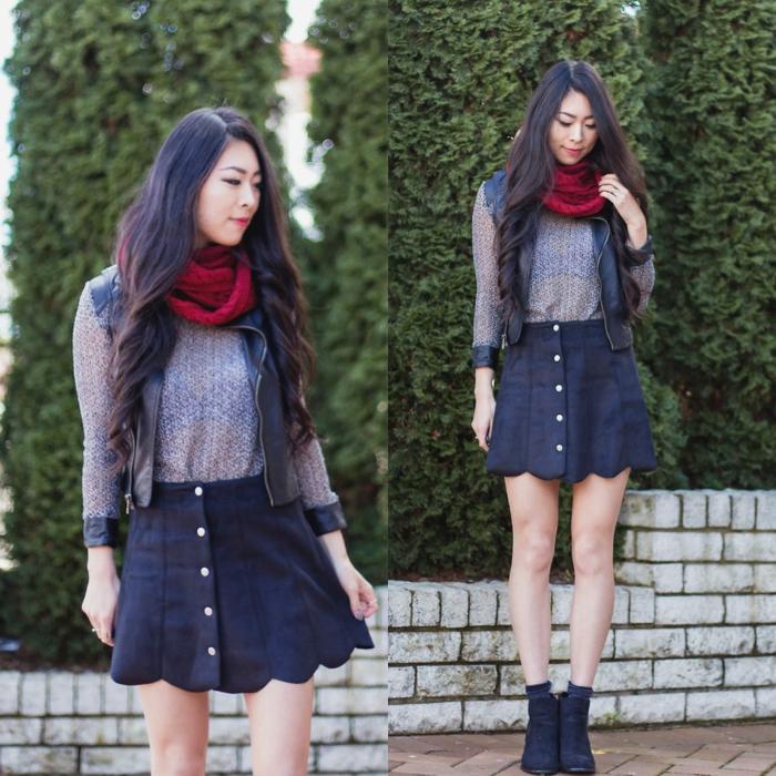 Mode-femme-écharpe-tube-féminine-chaude- jupe-courte