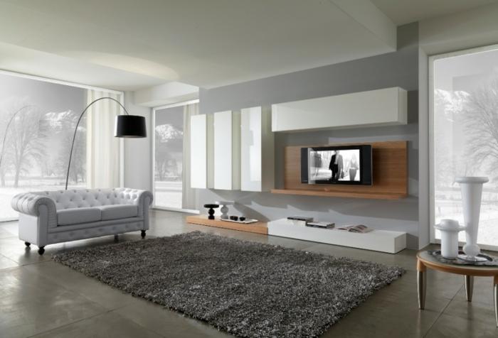 Salle-de-séjour-tapis-moderne-salon-contemporaine-idée-canapé-confort-tapis-shaggy