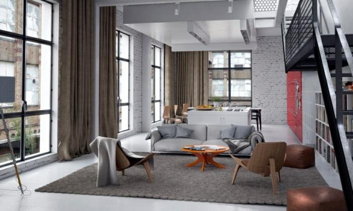 Salle-de-séjour-tapis-moderne-salon-contemporaine-idée-grand-fenetre